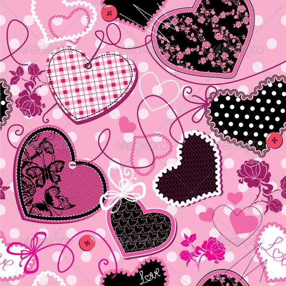 Pink and Black Hearts Seamless Pattern - Patterns Decorative