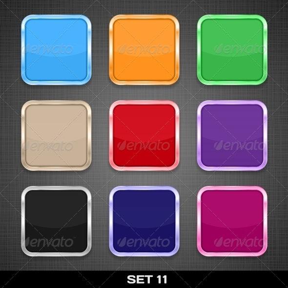Colorful App Icon Frames, Backgrounds. Set 11 - Web Elements Vectors