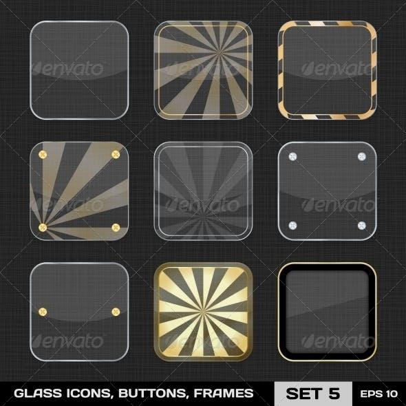 Transparent App Icon Frames, Backgrounds. Set 5