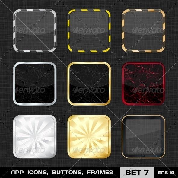Transparent App Icon Frames, Backgrounds. Set 7
