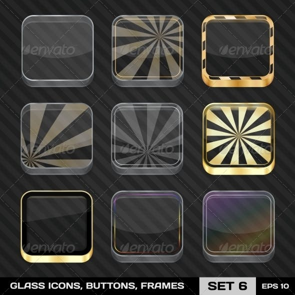 Transparent App Icon Frames, Backgrounds. Set 6