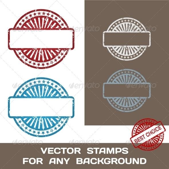 Grunge Blank Rubber Stamp Set. Template - Web Elements Vectors
