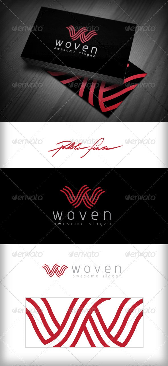 Letter W - Interlocking Wavy Abstract Lines W Logo - Letters Logo Templates
