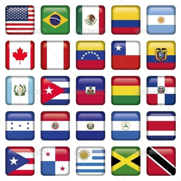 American Flags squared Icons