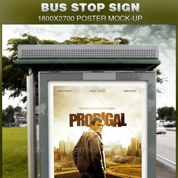 Bus Stop Sign Mock-Up