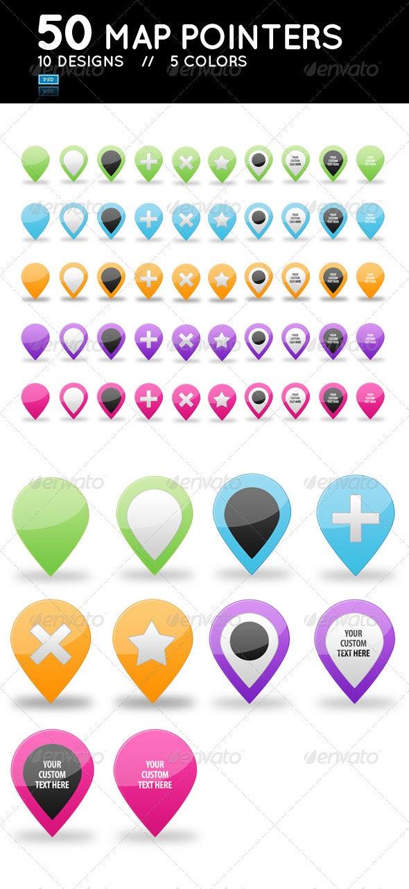 Set of 50 Glossy Web 2.0 Map Pointers  - Web Icons