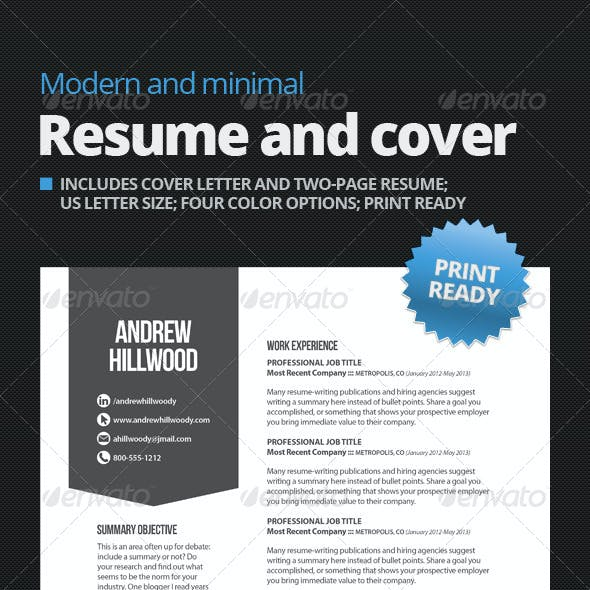 Modern and Minimal Resume and Cover Template