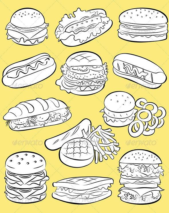 Hamburgers Vector - Food Objects
