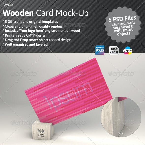 Business Card Mock Wood Template