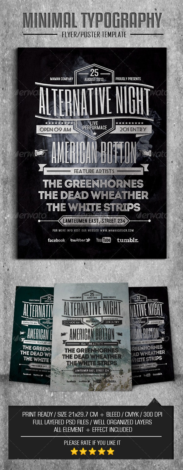 Alternative Typography Flyer/Poster - Concerts Events