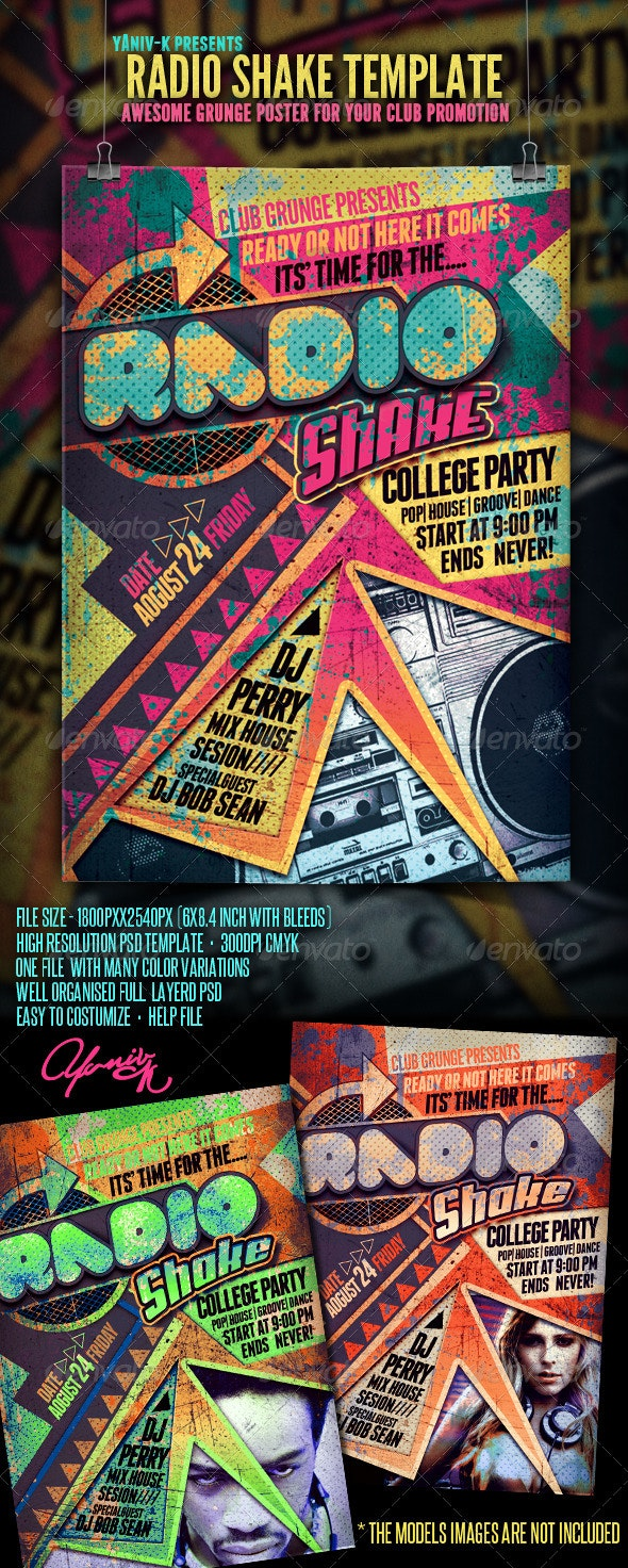 Radio Shake Flyer Template - Clubs & Parties Events
