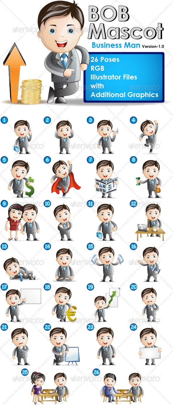Business mascot - Bob in 26 poses - Characters Vectors