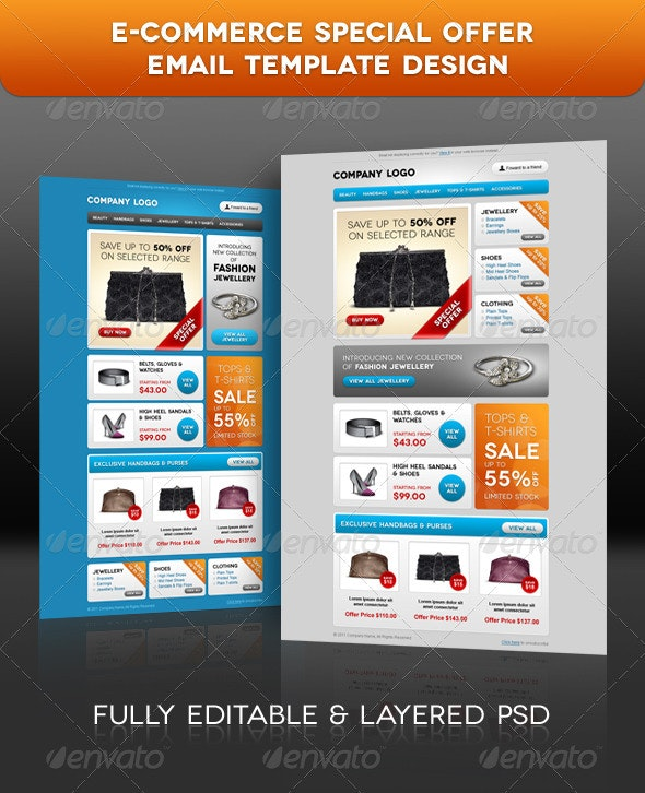 E-commerce Special Offer Email Template Design - E-newsletters Web Elements