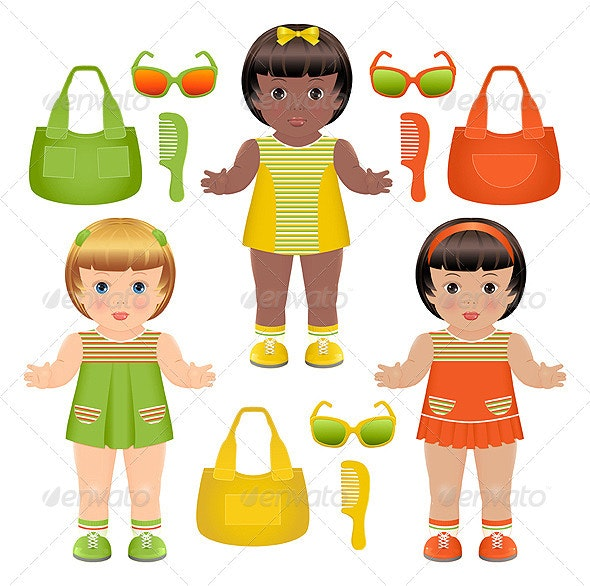 Set of girls dolls with different accessories - People Characters