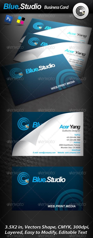 Blue Studio Business Card - Corporate Business Cards