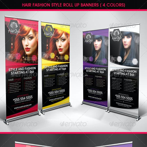 Hair Salon Fashion Style Roll Up Banners