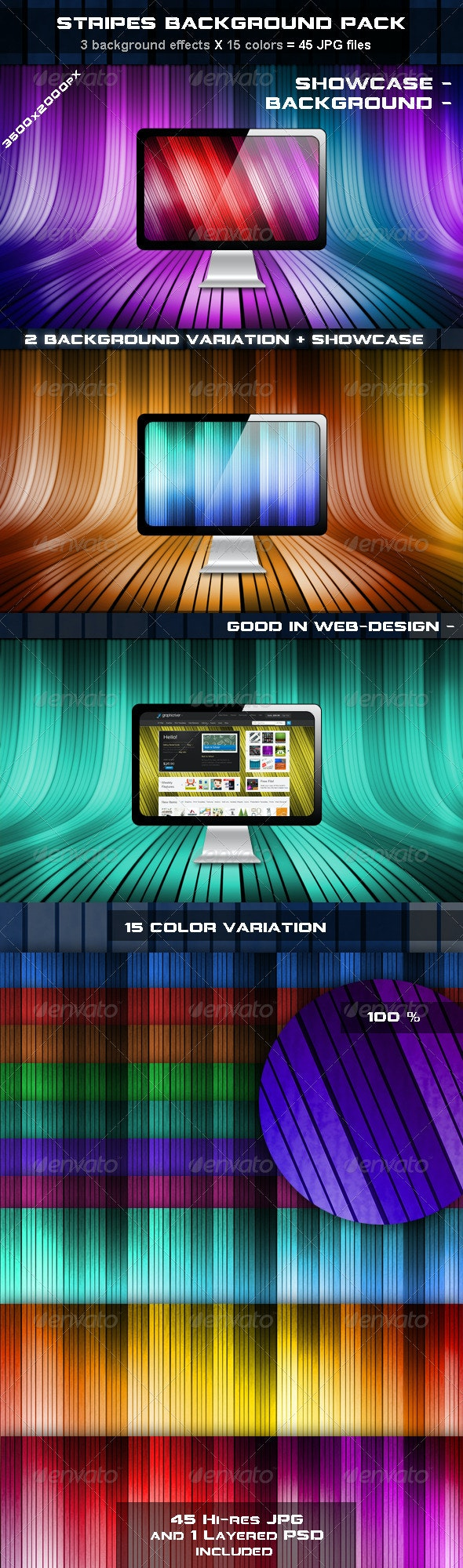 Stripes Background Pack - Tech / Futuristic Backgrounds