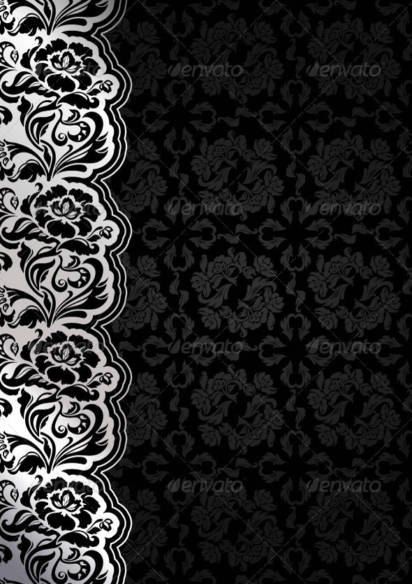 Floral Black Background with Lace - Backgrounds Decorative