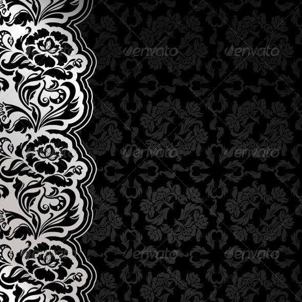 Floral Black Background with Lace