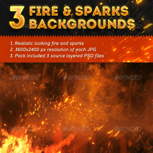 3 Fire and Sparks Backgrounds
