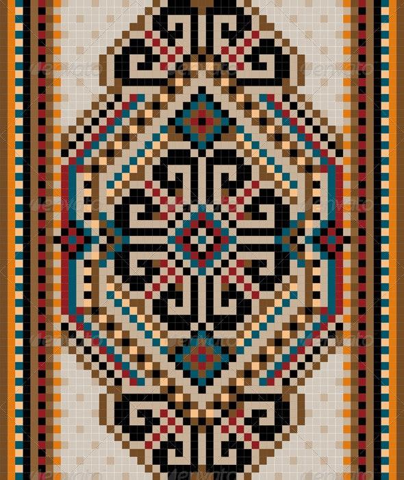 Oriental Design in the Frame for Carpet - Borders Decorative