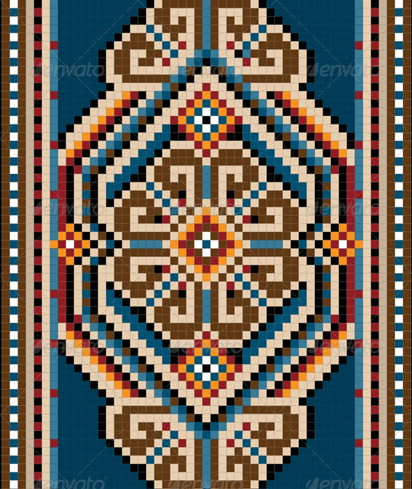 Ancient Oriental Design  with  Frame for Carpet - Borders Decorative