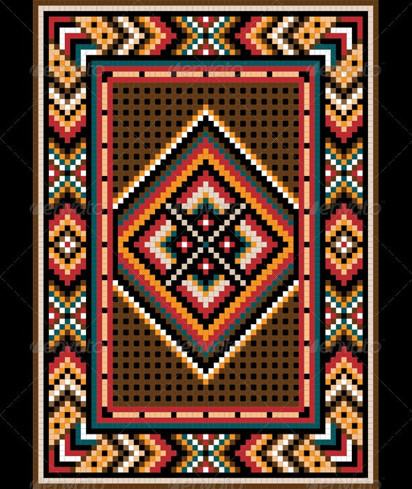 Asian  Design in the Frame for Carpet. - Borders Decorative