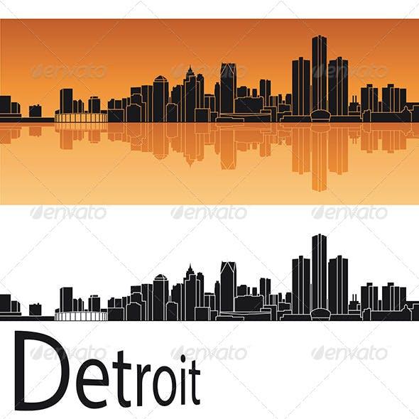 Detroit Skyline in Orange Background