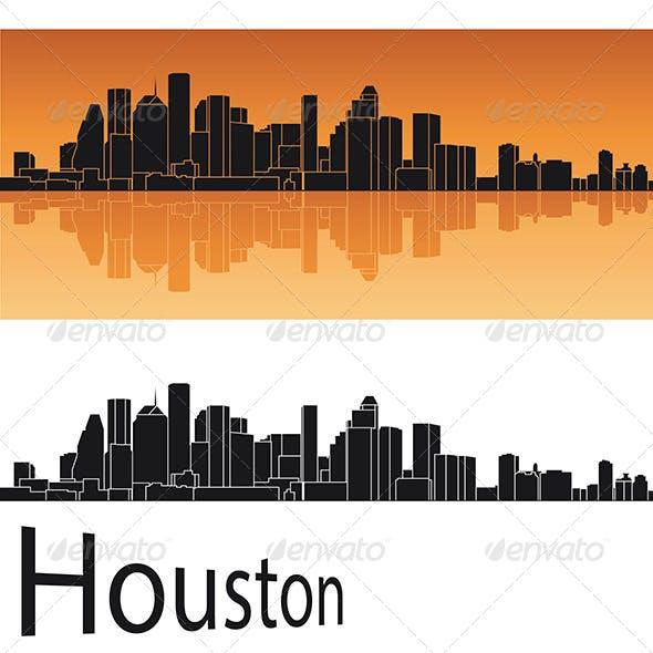 Houston Skyline in Orange Background