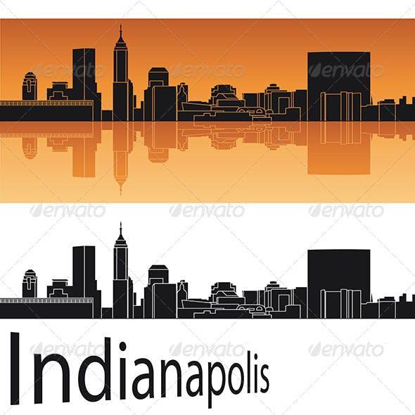 Indianapolis Skyline in Orange Background