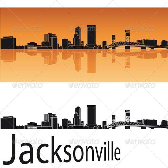 Jacksonville Skyline in Orange Background