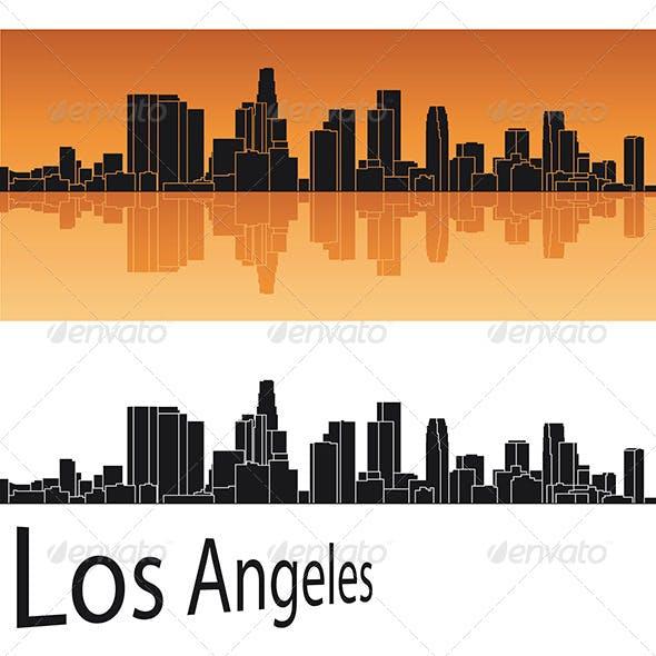 Los Angeles Skyline in Orange Background