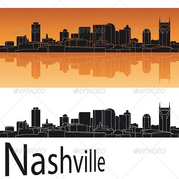 Nashville Skyline in Orange Background