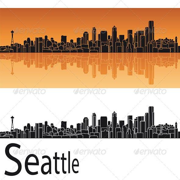 Seattle Skyline in Orange Background