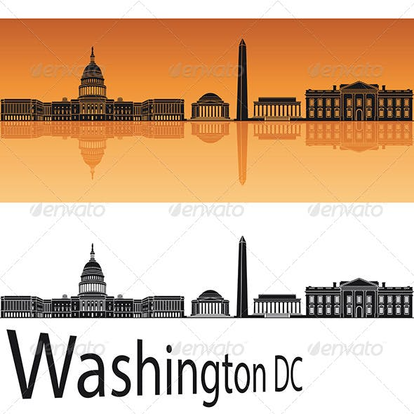 Washington DC Skyline in Orange Background