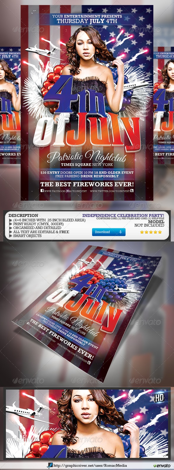 Fourth of July/Patriotic Party Flyer - Holidays Events