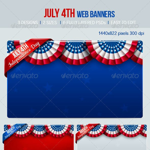 July 4th Web Banners