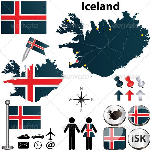 Iceland Map Vectors from GraphicRiver
