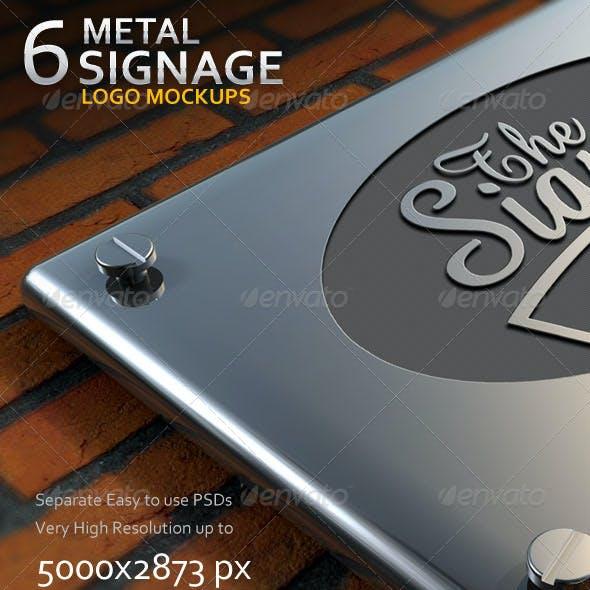 6 Metal Signage Logo Mockups