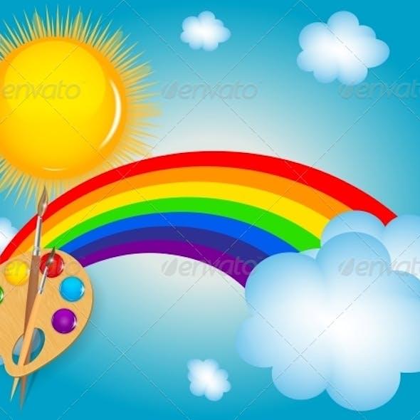 Cloud, Sun, Rainbow Vector Illustration Background