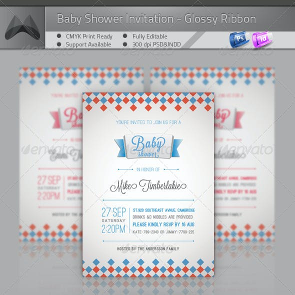Baby Shower Invitation - Glossy Ribbon