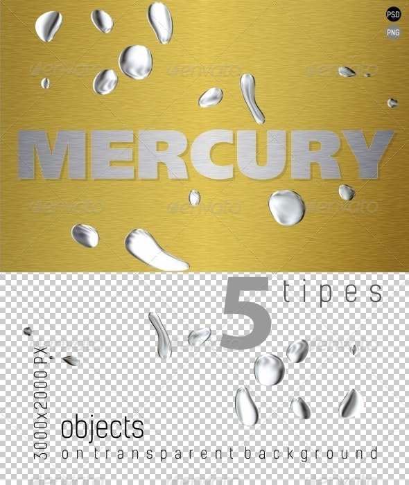 Mercury (Liquid Metal) on Transparent Backgrounds - Industrial & Science Isolated Objects