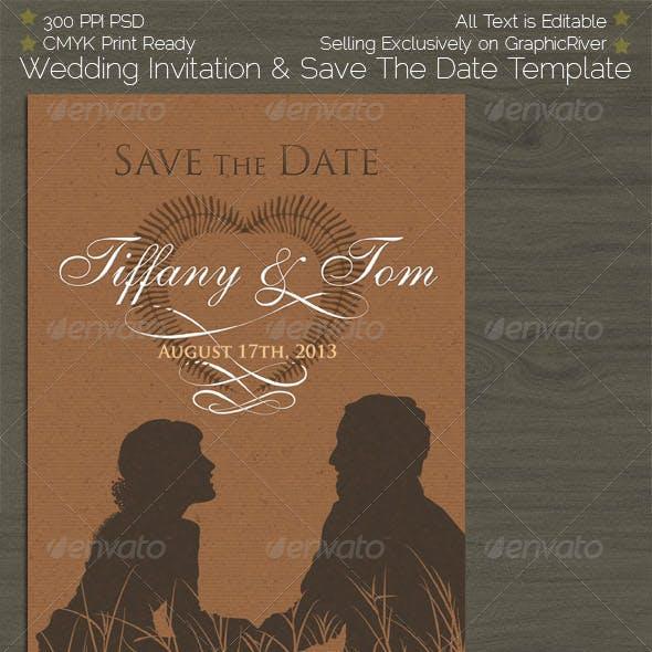 Classic Couple Silhouette Invite & Save The Date