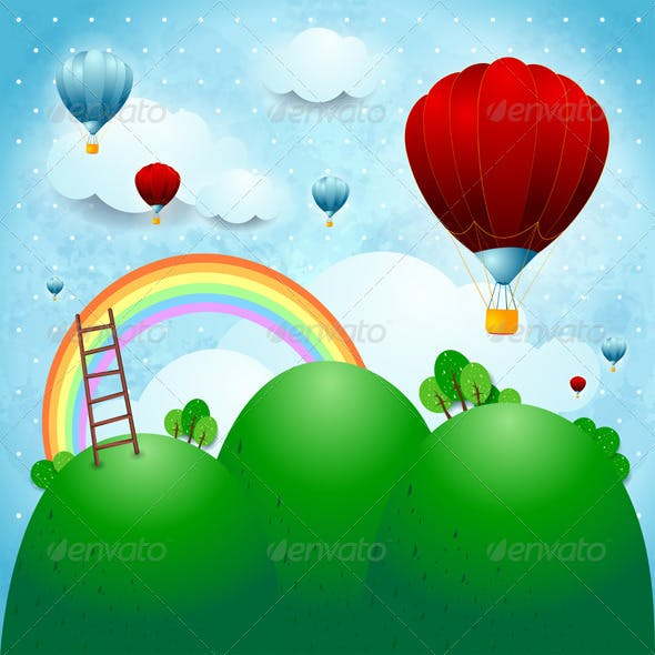 Fantasy Landscape with Hot Air Balloons