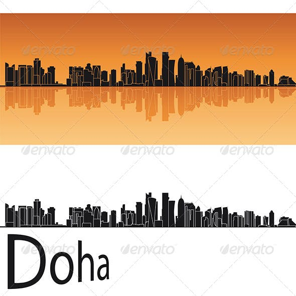 Doha Skyline in Orange Background