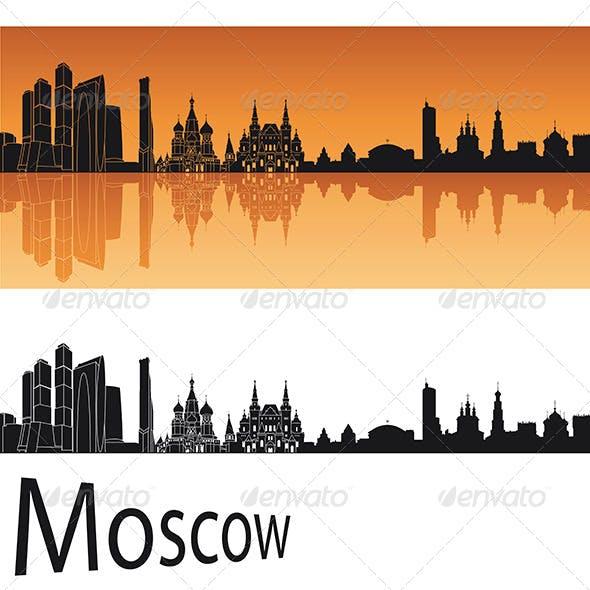 Moscow Skyline in Orange Background