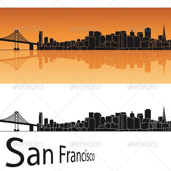 San Francisco Skyline in Orange Background