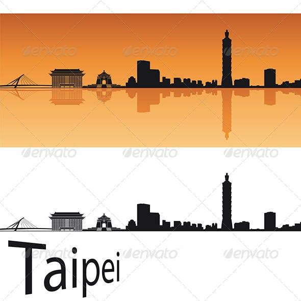 Taipei Skyline in Orange Background