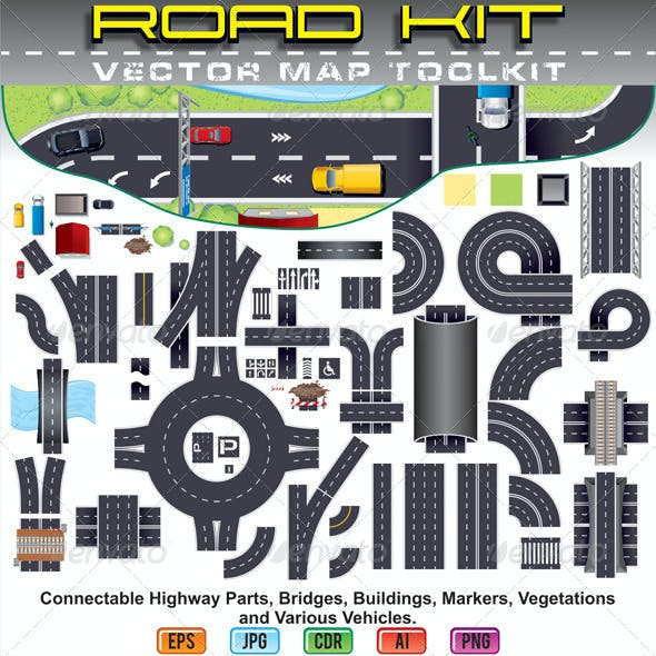 Highway Road Map Toolkit. Top View Position