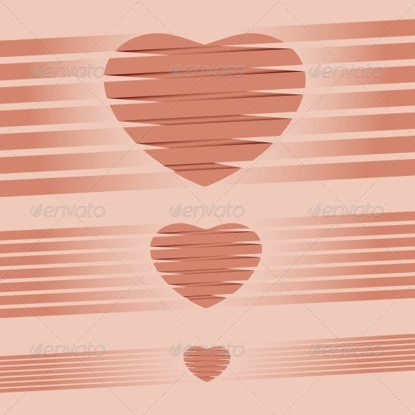 Heart Origami Pink Background